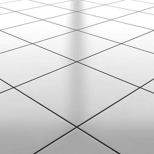 Glossy white ceramic floor.