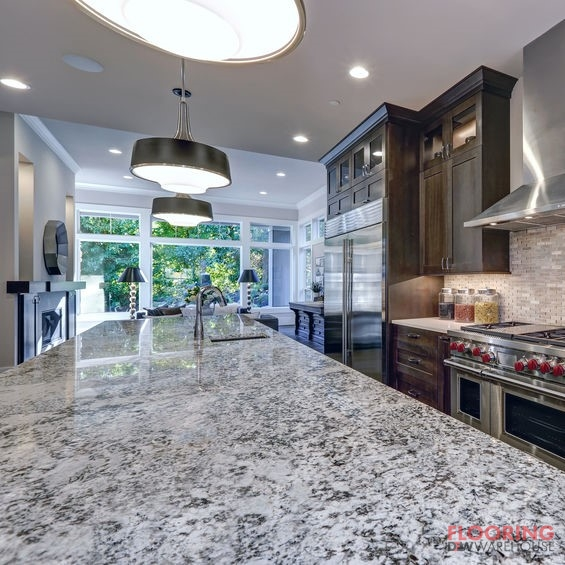 a grey granite countertop