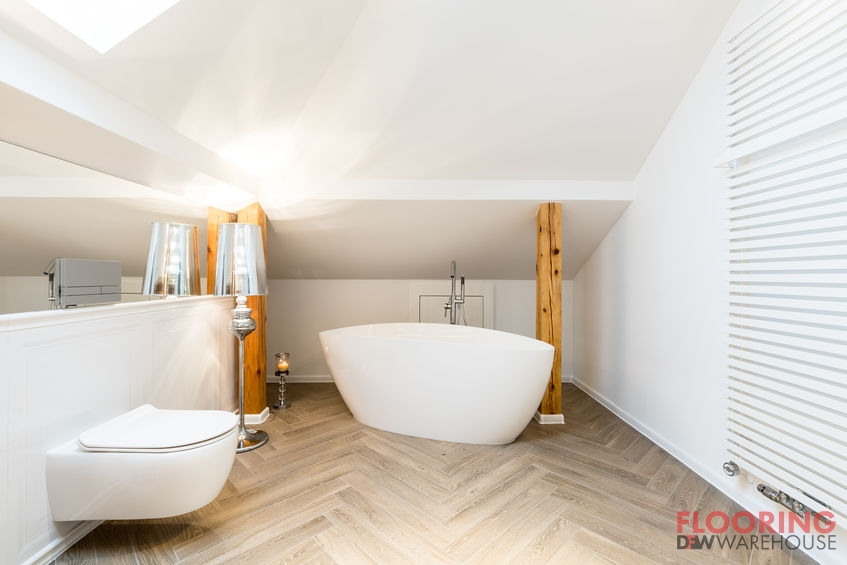 Modern White Bathroom With Wood Tile Floor